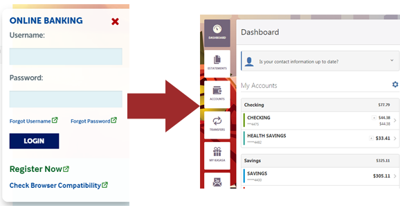 Go directly from entering your username and password to your online banking dashboard.
